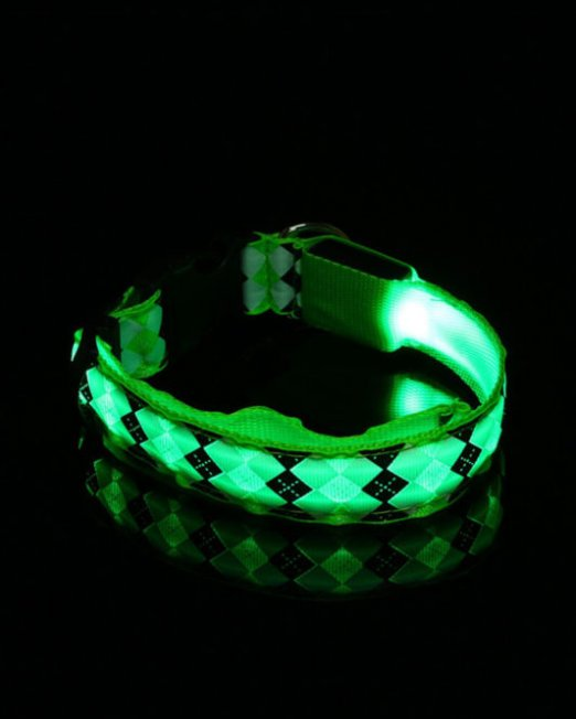 checker-print-led-collar-green