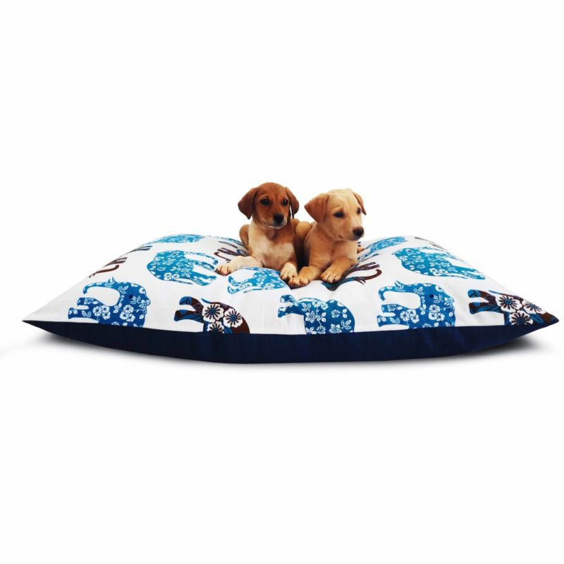 Waterproof Dog Bed White & Blue Print - Luxury Dog Beds On Prazuchi