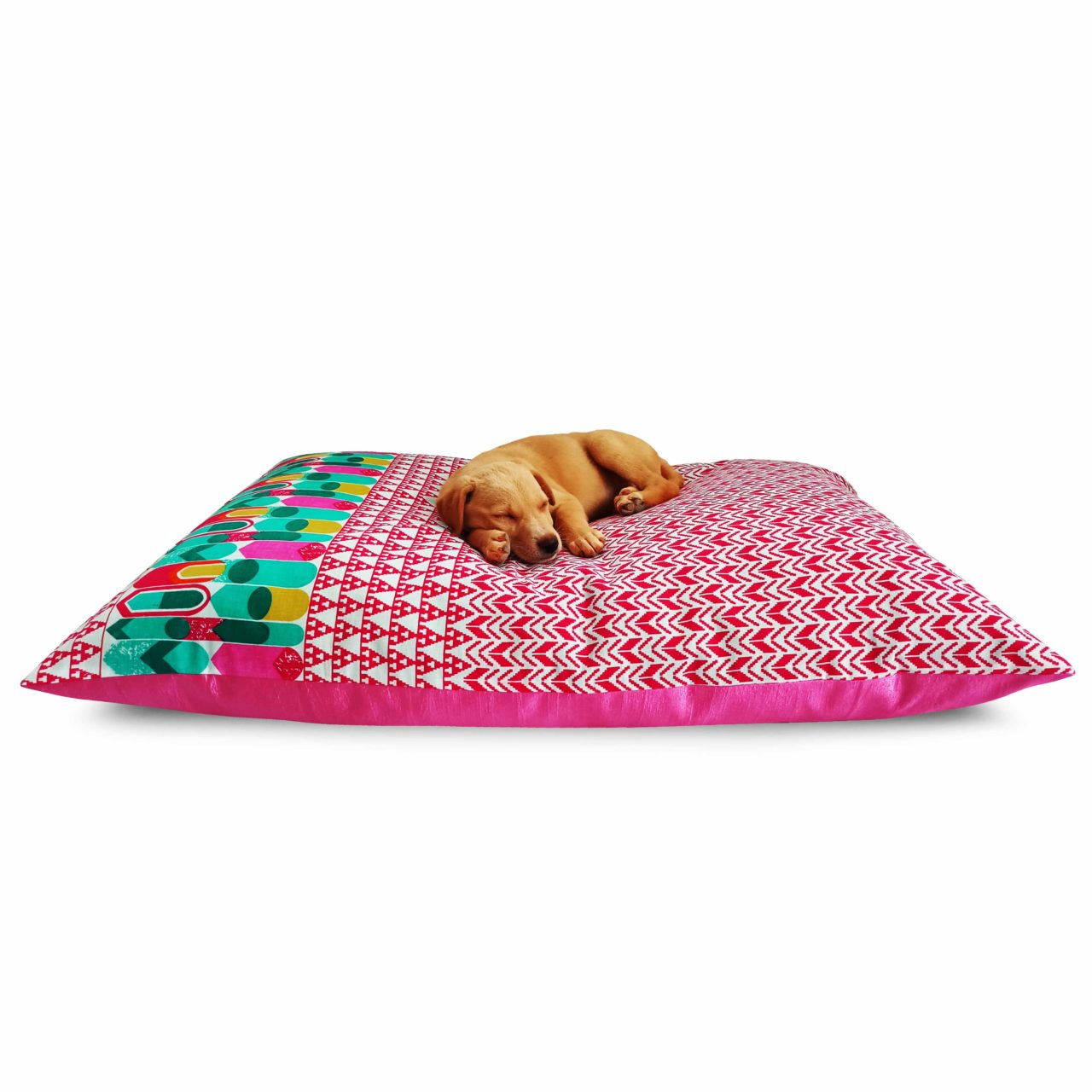 Waterproof Dog Bed Pink & Green Print | Luxury Dog Beds On Prazuchi