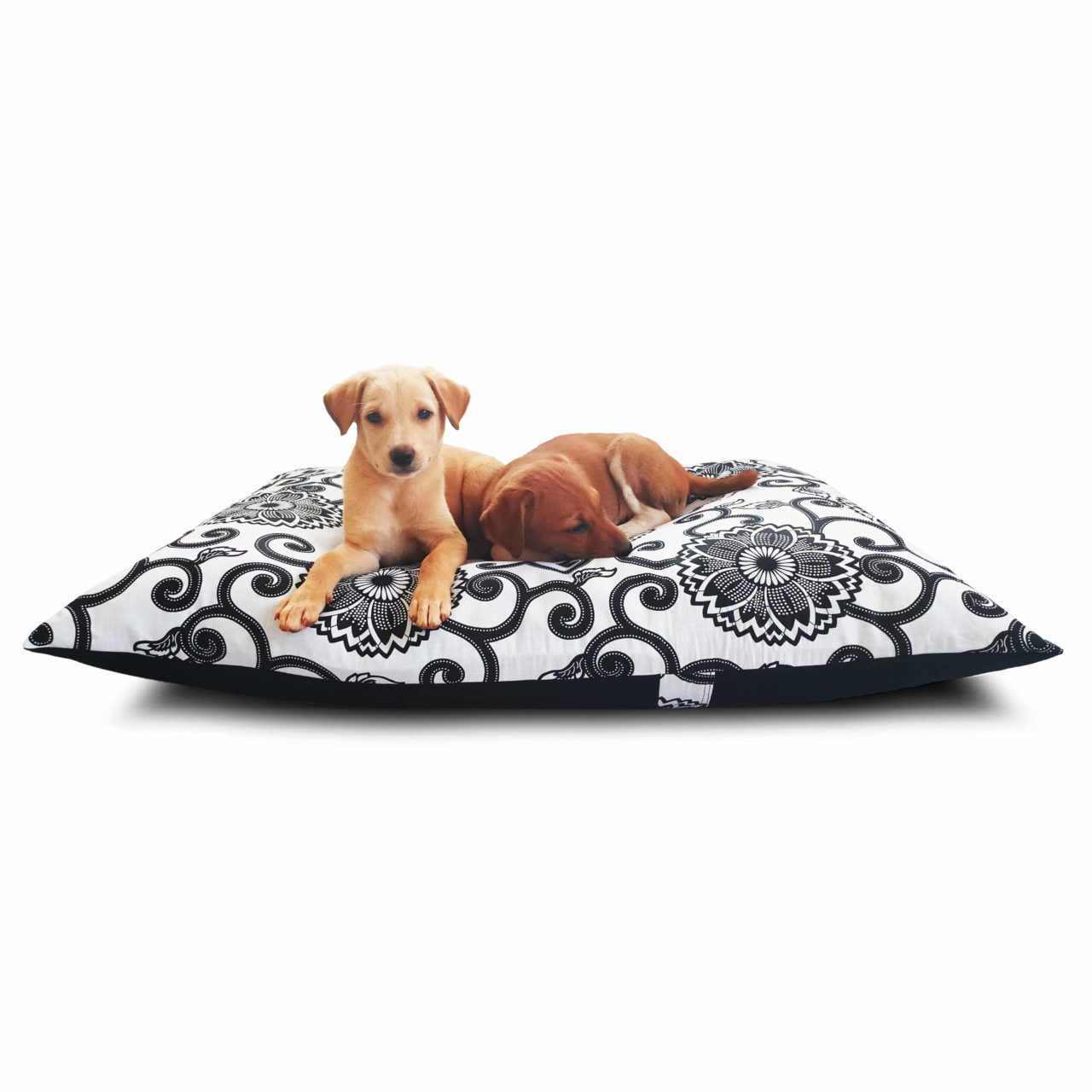 Waterproof Dog Bed Black & White Floral Print | Luxury Dog Beds|Prazuchi