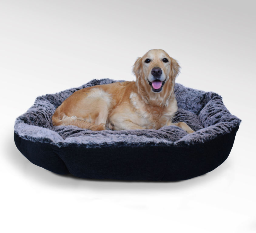 Faux Fur Bolster Dog Bed