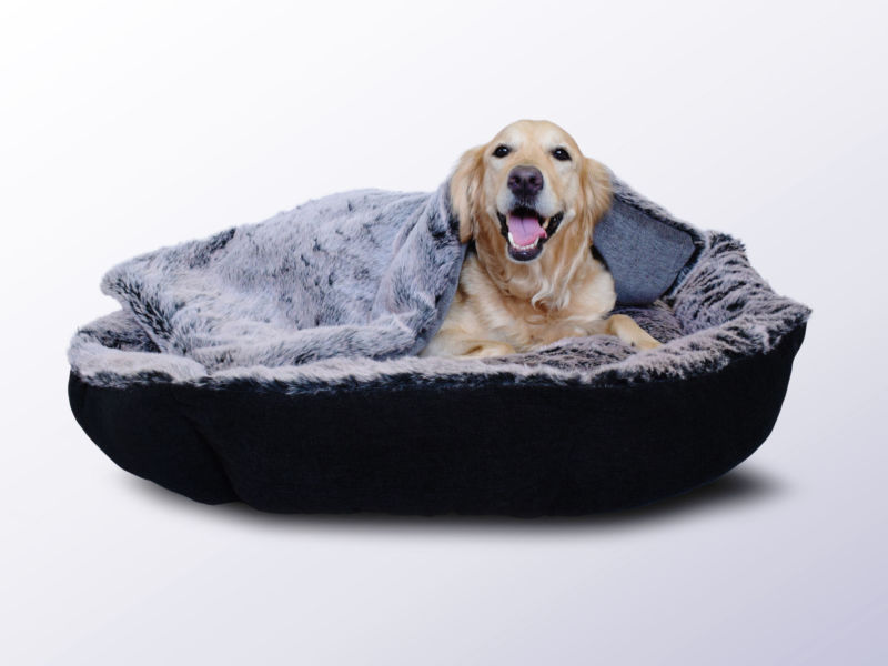 faux fur pet blankets and faux fur bolster dog bed